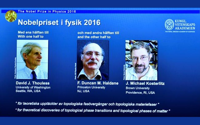A screen showing pictures of the winners of the 2016 Nobel Prize for Physics during a news conference by the Royal Swedish Academy of Sciences in Stockholm, Sweden October 4, 2016. From left: David Thouless, Duncan Haldane and Michael Kosterlitz. Reuters