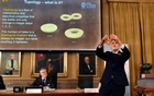 Thomas Hans Hansson (R), one of the members of the Royal Academy of Sciences, speaks during a news conference announcing the winners of the 2016 Nobel Prize for Physics in Stockholm, Sweden October 4, 2016. Reuters