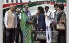 Goa's Science, Technology and Environment Minister Alina Saldanha and Bangladesh High Commissioner to India Syed Muazzem Ali welcome Prime Minister Sheikh Hasina to the Indian state on Sunday on her arrival to attend BRICS-BIMSTEC Outreach Summit. Photo: PID