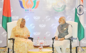 Hasina meeting Modi on the sidelines of BRICS-BIMSTEC Summit in Goa in October 2016.