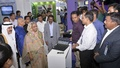 Prime Minister Sheikh Hasina inspects stalls of IT fair Digital World 2016 at the International Convention City Bashundhara in Dhaka on Wednesday. Photo: PID