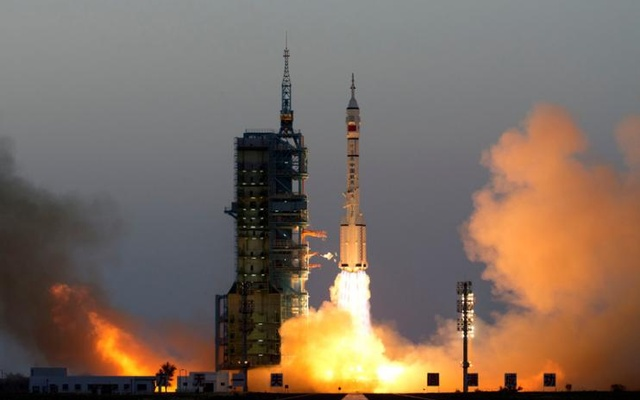 Shenzhou-11 manned spacecraft carrying astronauts Jing Haipeng and Chen Dong blasts off from the launchpad in Jiuquan, China. Reuters