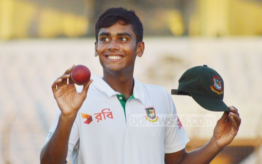 Bangladesh's Mehedi Hasan Miraz shone with five wickets on debut on the opening day of the first Test against England on Thursday. Photo: suman babu