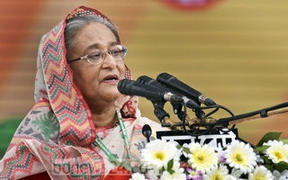 Sheikh Hasina speaking at the inaugural session of the Awami League;s 20th National Council on Saturday.