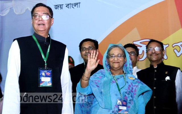 File Photo: Just re-elected Awami League President Sheikh Hasina with outgoing general secretary Syed Ashraful Islam at the party's council in Dhaka.