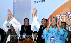 Syed Ashraful Islam with his successor Obaidul Quader along with Sheikh Hasina after the Awami League chose its leadership for the next three years.