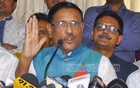 Obaidul Quader faces the media for the first time as Awami League general secretary. He came to a post-council news conference at a community centre in Dhaka on Monday.