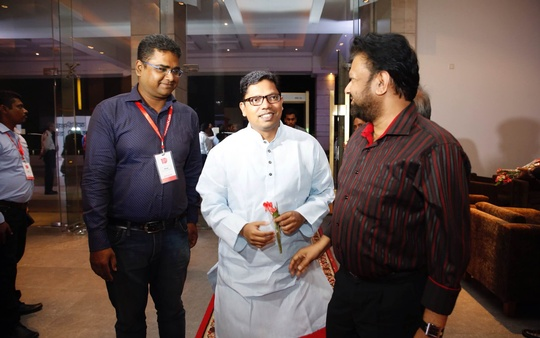 State Minister for ICT Zunaid Ahmed Palak and Bhorer Kagoj Editor Shyamal Dutta at the 10th anniversary celebrations of bdnews24.com