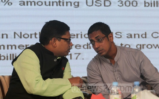 State Minister for ICT Zunaid Ahmed Palak and Awami League MP Nahim Razzaq at the 'e-commerce Policy Conference 2016' at a Dhaka hotel on Wednesday.