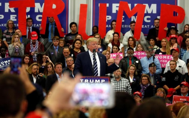 Trump speaking at campaign rally in Maine. Reuters