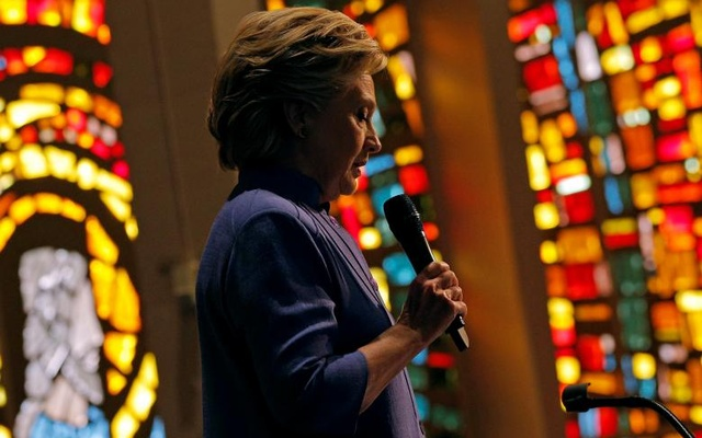 US Democratic presidential nominee Hillary Clinton speaks during services at Mount Olive Baptist Church in Fort Lauderdale, Florida, US, Oct 30, 2016. Reuters