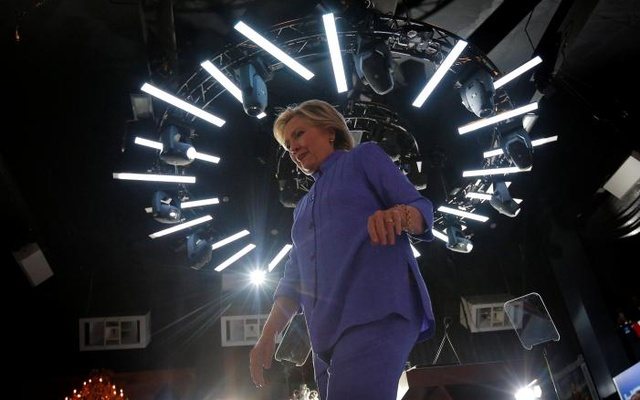 US Democratic presidential nominee Hillary Clinton walks off the stage at a campaign rally at the Manor Complex in Wilton Manors, Florida, US Oct 30, 2016. Reuters