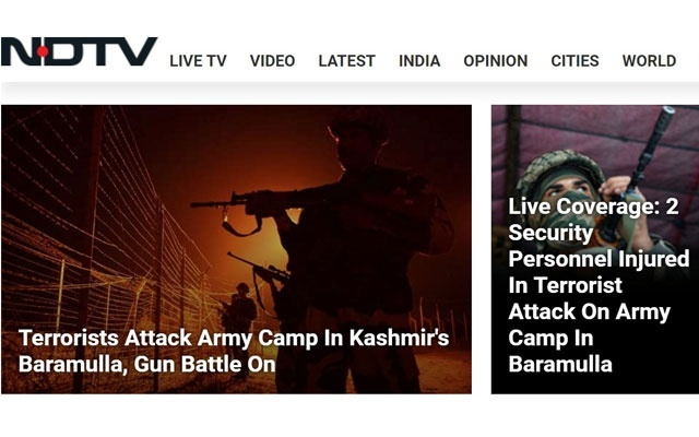 A screenshot of NDTV's live coverage of the Oct 2, 2012 attack on an army camp in Kashmir