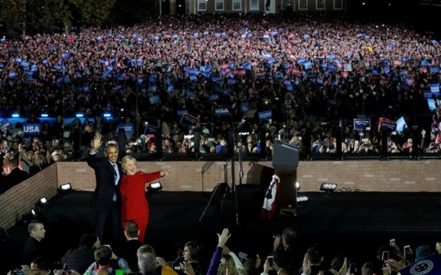 Hillary Clinton is joined by President Barack Obama at a campaign rally in Philadelphia, Pennsylvania, US, Nov 7, 2016, the final day of campaigning before the election.Reuters
