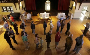 People wait to vote in the US presidential election at Grace Episcopal Church in The Plains, Virginia, US, Nov 8, 2016. Reuters