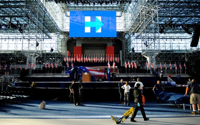 Preparations for Hillary Clinton's election night rally at the Jacob K Javits Convention Center. Reuters
