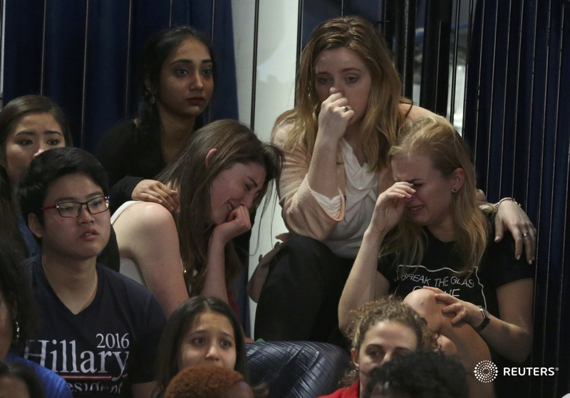Supporters of Hillary Clinton react at her election night rally in Manhattan.jpg