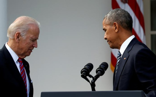 US President Barack Obama and Vice President Joe Biden (L) turn away from the lectern after Obama spoke about the election results that saw Donald Trump become President-elect from the Rose Garden of the White House in Washington, Nov 9, 2016. Reuters
