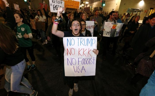 Protesters demonstrate against the election of Republican Donald Trump as President of the United States in New Orleans, Louisiana, US, Nov 10, 2016. Reuters