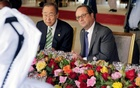 United Nations Secretary-General Ban Ki-moon (L) speaks with French President Francois Hollande during a lunch at the Royal Palace during the UN Climate Change Conference 2016 (COP22) in Marrakesh, Morocco Nov 15, 2016. Reuters