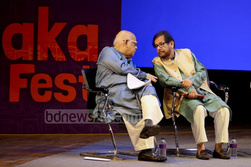 Finance Minister AMA Muhith and Cultural Affairs Minister Asaduzzaman Noor in conversation during the inaugural ceremony of Dhaka LiT Fest. Photo: asaduzzaman pramanik