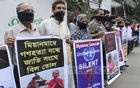 Protesters outside National Press Club in Dhaka demand justice for Rohingya Muslims facing persecution in Myanmar.