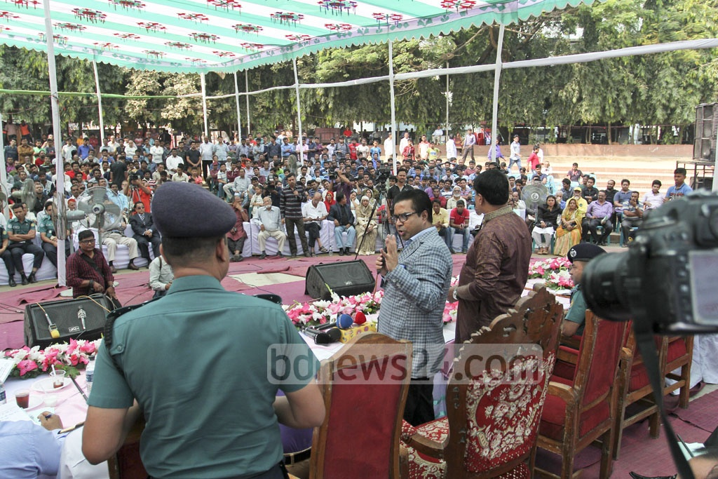 Dhaka South Mayor Sayeed Khokon speaking during an event on Wednesday meant to interact with citizens at the capital's Dhanmondi. Photo: asif mahmud ove