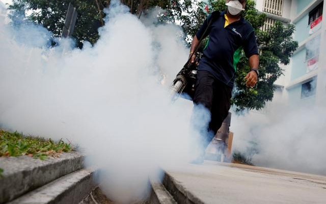 FILE PHOTO: A worker fogs the common area of a public housing estate at a new Zika cluster in Singapore September 1, 2016. Reuters