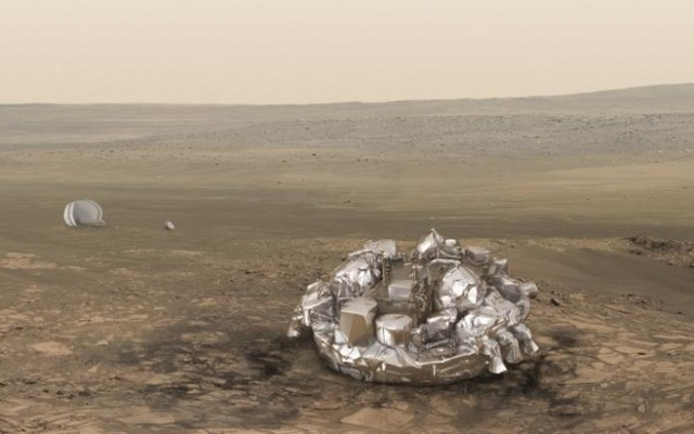 An illustration released by the European Space Agency (ESA) shows the Schiaparelli EDM lander. Reuters