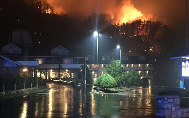 A wildfire burns on a hillside after a mandatory evacuation was ordered in Gatlinburg, Tennessee in a picture released Nov 30, 2016. Reuters