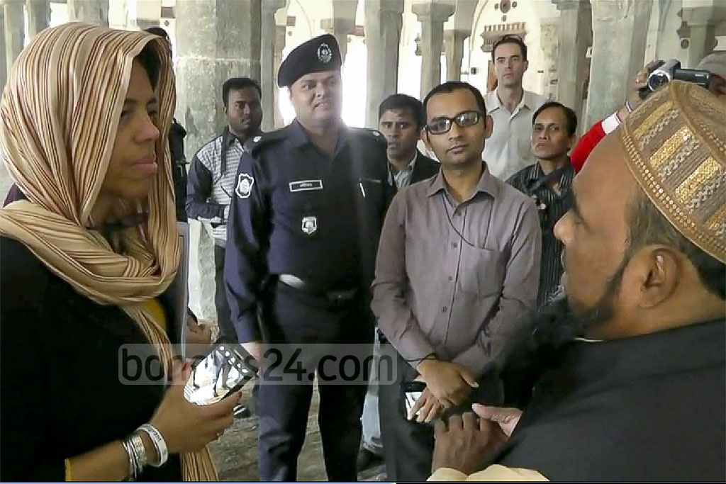 US Ambassador Marcia Bernicat listening to the history of 'Shatt Gombuj Masjid' (Sixty Dome Mosque) during a visit to the mosque in Bagerhat on Thursday. The Sultanate period mosque is a UNESCO World Heritage Site in Bangladesh.