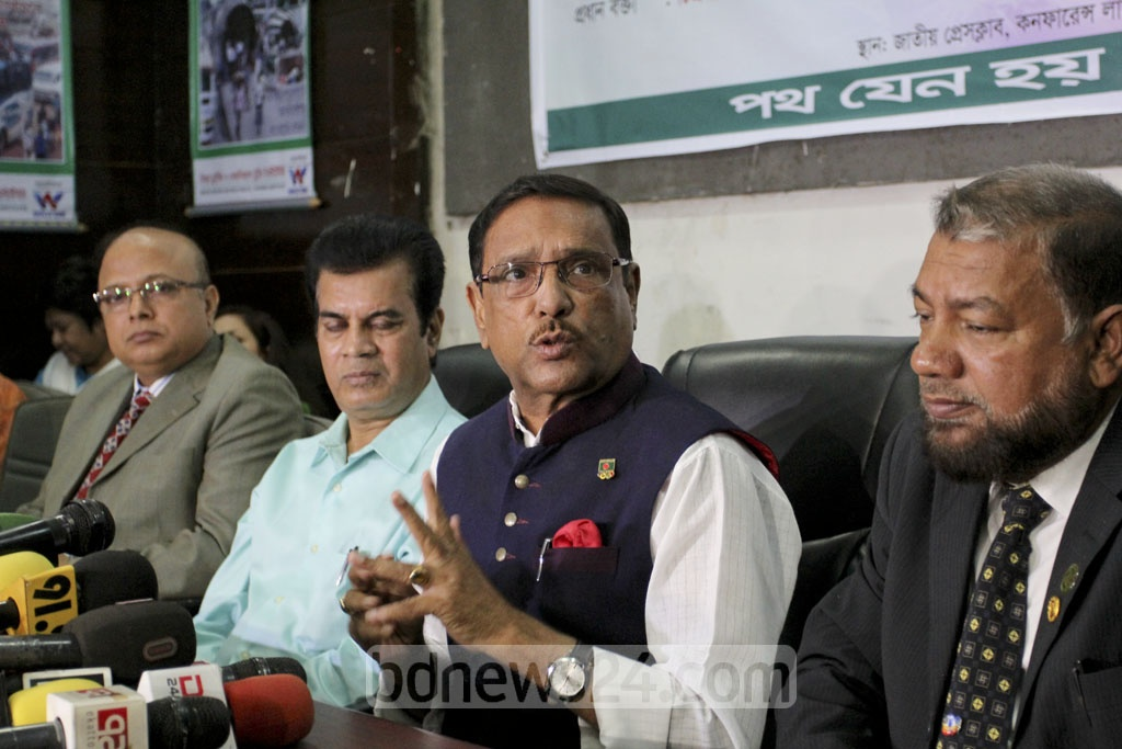 Road Transport Minister Obaidul Quader speaking at seminar on road safety at Dhaka's Press Club on Thursday.