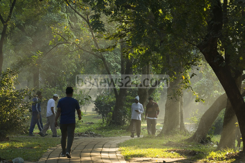 The park is favourite to many morning walkers because of its greenery and pathways. Photo: mostafigur rahman