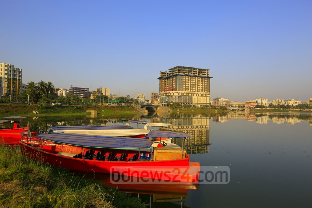 Water taxis anchored at the Gulshan end of Dhaka's Hatirjheel Lake. The newest addition to public transportation for the capital is expected to start operating from Dec 16. Photo: mostafigur rahman