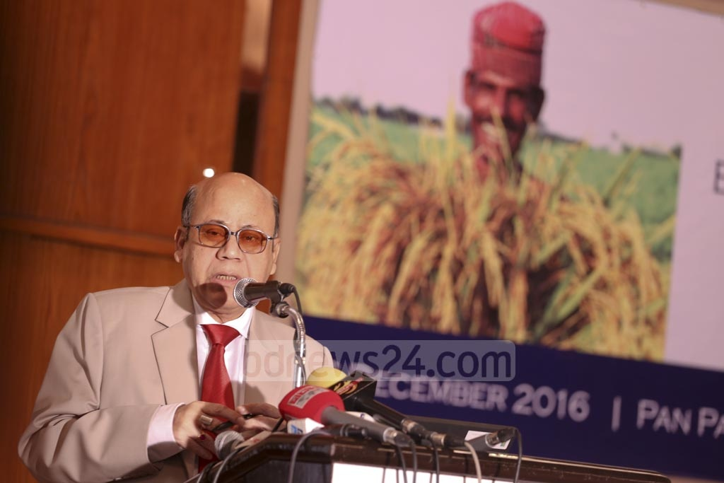 Food Minister Quamrul Islam speaks at the inauguration of Bangladesh Integrated Food Policy Research Programme at a Dhaka hotel on Tuesday.