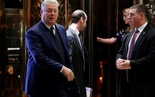 Nobel Peace Prize laureate and former US Vice President Al Gore exits after a meeting with US President-elect Donald Trump at Trump Tower in Manhattan, New York City, US, Dec 5, 2016. Reuters