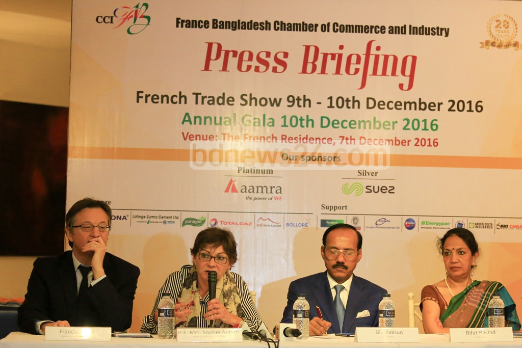 French Ambassador in Dhaka Sophie Aubert speaks about French Trade Show at a press conference at her residence in Gulshan on Wednesday.