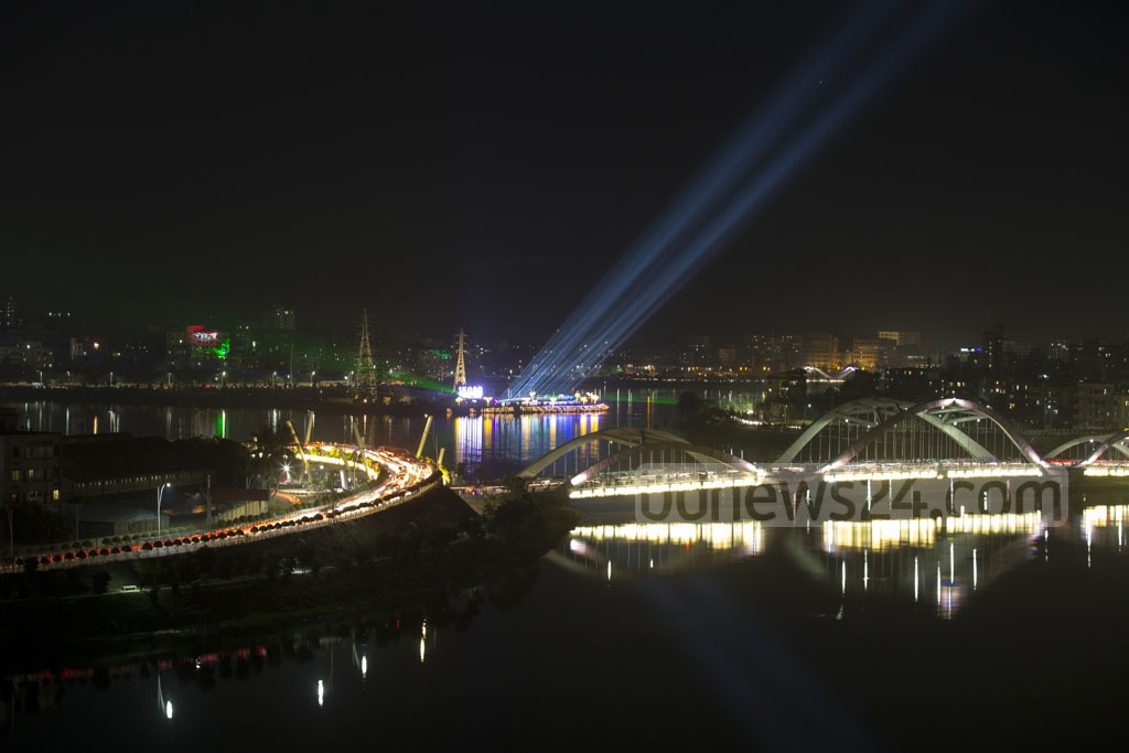 Fireworks light up the night sky during a festival of lights at Hatirjheel in Dhaka as the country reaches 15,000 megawatt power generation capacity.
