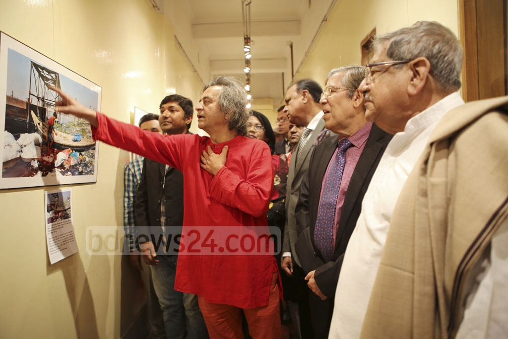 Guests visiting the exhibition titled 'Save the River Burhiganga' - at Alliance Française on Saturday. December 11, 2016