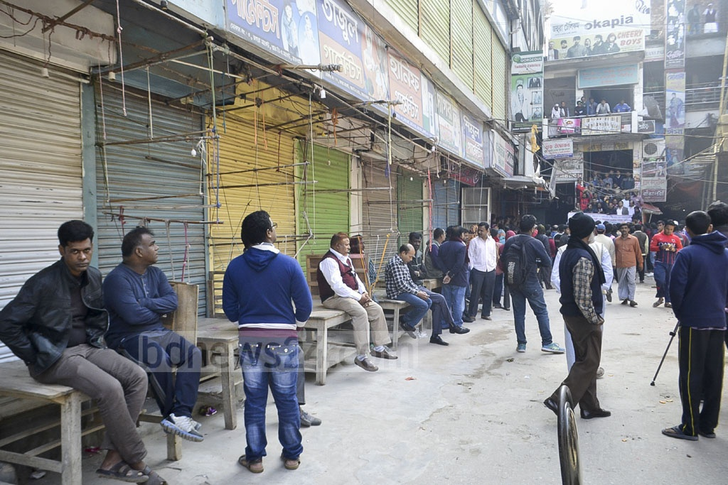 Shops in Rajshahi City Corporation are closed during a half-day strike against a government move to increase holding tax. Photo: Gulbar Ali Juwel