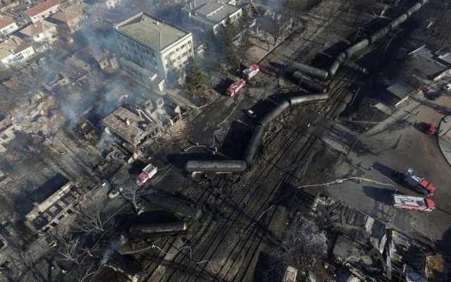 An aerial view shows the site where a cargo train derailed and exploded in the village of Hitrino, Bulgaria, Dec 10, 2016. Reuters