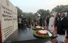 President Md Abdul Hamid and Prime Minister Sheikh Hasina pay homage to the martyred intellectuals at the Martyred Intellectuals Memorial at Mirpur in Dhaka on Wednesday. Photo: PMO
