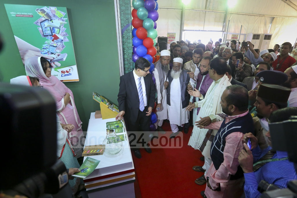 Religious Affairs Minister Motiur Rahman visiting stalls after inaugurating the Hajj and Umrah Fair at Bangabandhu International Conference Centre on Thursday. Photo: asaduzzaman pramanik
