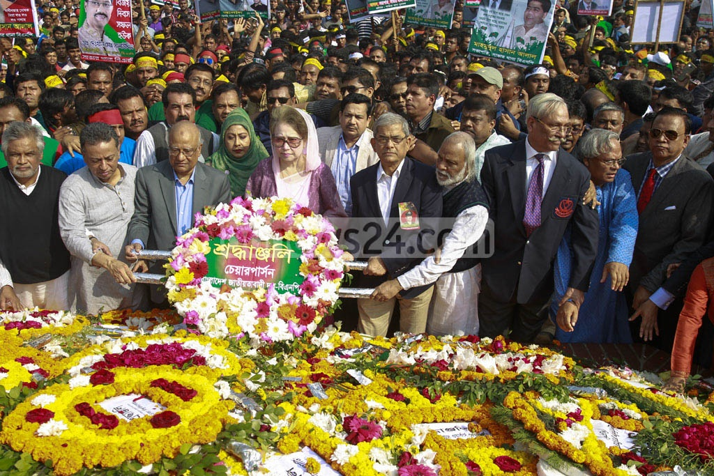 BNP Chairperson Khaleda Zia pays respects to theLiberation War martyrs at Savar's National Memorial with party leaders on the Victory Day.