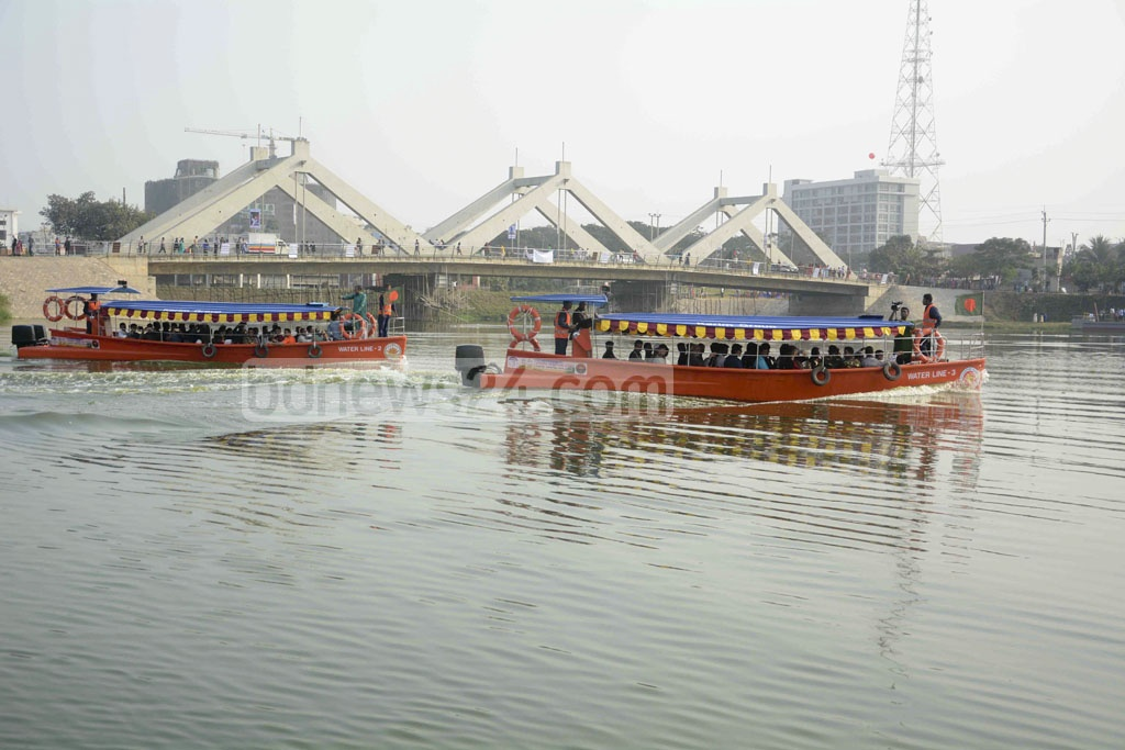 Water taxi services launched on Hatirjheel added to the Victory Day happiness on Friday.