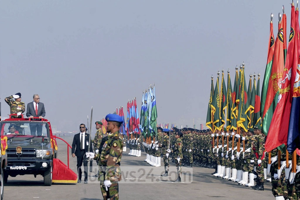 President Abdul Hamid at the Victory Day parade at the National Parade Ground on Friday.