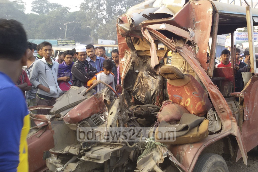 The mangled Laguna that collied with a bus on Dhaka-Tangail highway in Gazipur killing six people on Saturday.