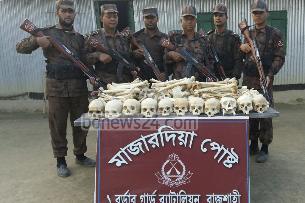 Border Guard Bangladesh (BGB) seized 11 skeletons from Char Mazardia Purbapara area in Rajshahi on Saturday. The skeletons were smuggled in from Indian.