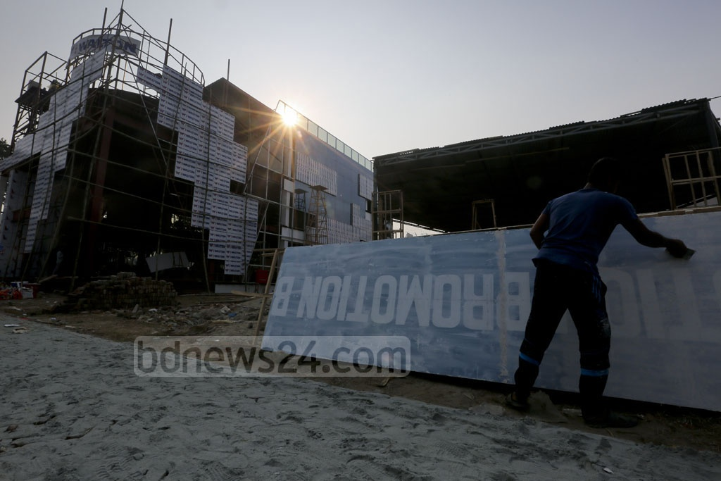 The stage is being set for Dhaka International Trade Fair to be held at Dhaka's Sher-e-Bangla Nagar throughout January. Photo: asaduzzaman pramanik