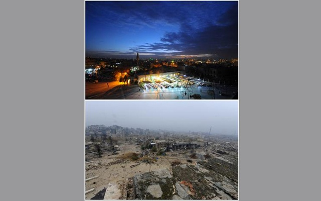 A combination picture shows the Old City of Aleppo, Syria on November 24, 2008 (top) and after it was damaged December 13, 2016. Reuters